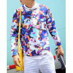 Buy Casual Style Round Neck Long Sleeves Slimming Personality Floral Print Men's Cotton Sweatshirt M COLORMIX
