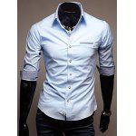Buy Stylish Shirt Collar Slimming Hit Color Splicing Pocket Design Half Sleeve Cotton Men M LIGHT BLUE
