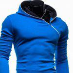 Buy Trendy Long Sleeves Hooded Personality Inclined Zipper Design Slimming Solid Color Men's Cotton Blend Hoodies RED
