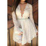 Plunging Neckline Long Sleeve A-Line Lace Braless Dress - WHITE