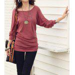 Casual Style Scoop Neck Long Batwing Sleeve Solid Color Loose-Fitting Women's T-Shirt L RED