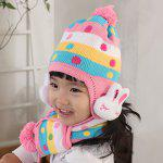 A Suit of Cute Rabbit Dot Pattern Decorated Woolen Ball Hat And Scarf For Children - COLOR ASSORTED