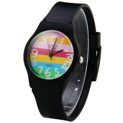 Ladies Quartz Watch Colorful Stripes Round Dial Plastic Wristband