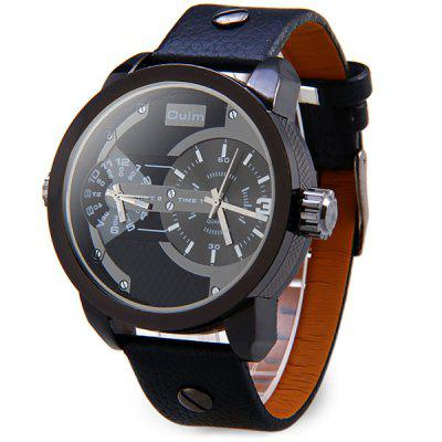 Oulm 3221 Men Japanese Quartz Watch Doul - movtz Round Dial Leather Watchband