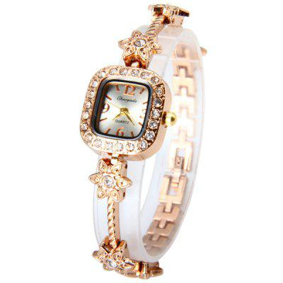 Chaoyada Fashional Ladies Diamond Quartz Chain Watch with Steel Strap Rectangle Dial