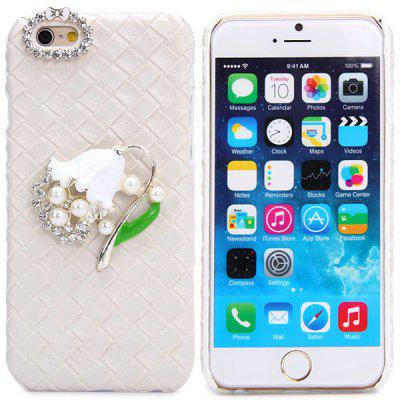 Fashionable Plastic and Artificial Leather Material Back Cover Case with Flower Pattern and Diamond Design for iPhone 6  -  4.7 inches