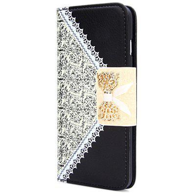 Artificial Leather and Plastic Material Bowknot and Retro Flower Design Cover Case with Card Holder for iPhone 6 Plus  -  5.5 inches