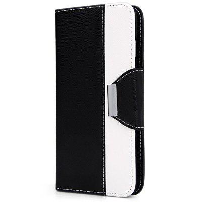 Artificial Leather and Silicone Material Contrast Color Design Stand Cover Case with Lanyard and Card Holder for iPhone 6 Plus  -  5.5 inches