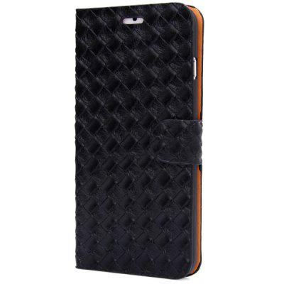 Artificial Leather and Plastic Material Weave Rhombus Texture Design Stand Case Cover with Card Holder for iPhone 6 Plus  -  5.5 inches