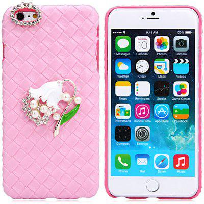 Fashionable Plastic and Artificial Leather Material Back Cover Case with Flower Pattern and Diamond Design for iPhone 6 Plus  -  5.5 inches