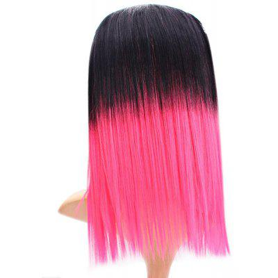 Tangle Free Black + Pink Hairpiece Wig Highlight Stright Hair Extension for Women