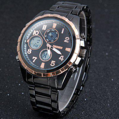 Skmei 1021 Dual - movtz Watch 30M Waterproof  Week Light Stainless Steel Band Wristwatch for Men
