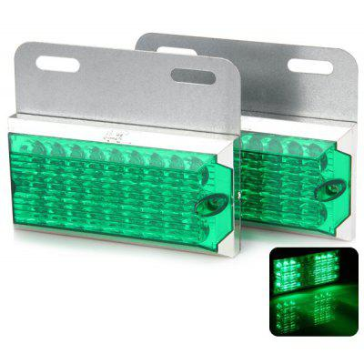 2pcs DB - 3010 Water Resistant Green 27 LEDs Boutique Lamp for Vehicles (24V)