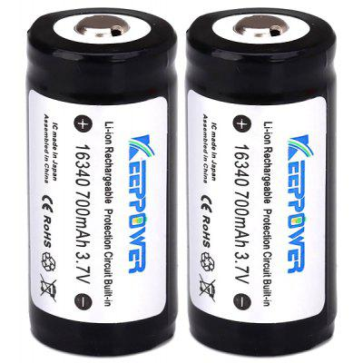 Batterie rechargeable au lithium 700mAh 16340 de KeepPower - 3.7V 2 Pcs