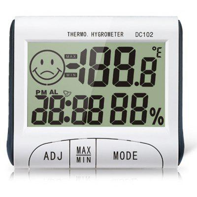 DC102 3 in 1 2.7 inch LCD Display Hygrothermograph Digital Clock Hygrometer Thermometer Multi - purpose Household Supplies