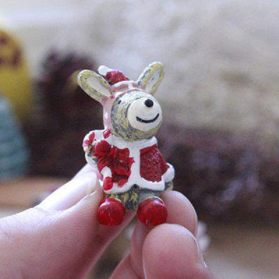 Exquisite Mini Resin Rabbit Christmas Desk Adornment Toy Xmas Gadget Gift Home Office Ornaments