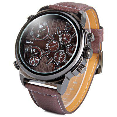 Oulm 3299 Men Multi - movt Quartz Watch Japanese Movement Leather Band Round Dial