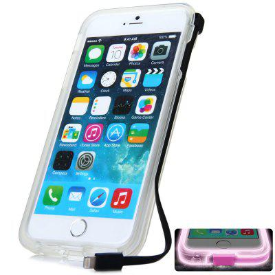 High Speed USB Charger Cable Design Transparent Plastic and TPU Back Cover Case with Flash Light for iPhone 6 Plus  -  5.5 inches