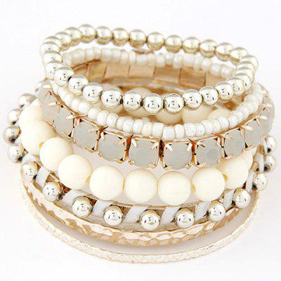 9PCS Faux Gem Beads Wrap Bracelets