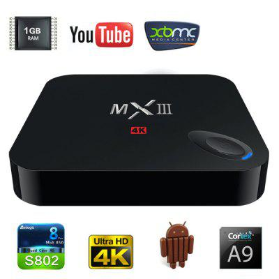 MXIII M82 Amlogic S802 Quad - Core KitKat Cortex - A9 4K Android 4.4 WiFi TV Box Media Hub 1GB RAM 8GB ROM Support HDMI OTG AV Input  -  UK Plug