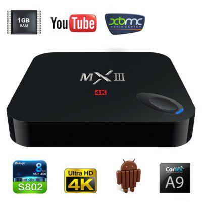 MXIII M82 Amlogic S802 Quad - Core KitKat Cortex - A9 4K Android 4.4 WiFi TV Box Media Hub 1GB RAM 8GB ROM Support HDMI OTG AV Input  -  US Plug