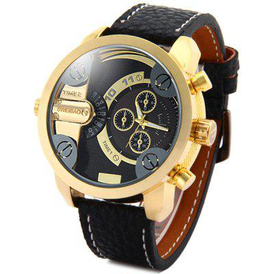 Shiweibao A3132 Men Dual Quartz Watch with Leather Band Big Dial
