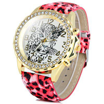 Batti ZB - 23 Women Diamond Quartz Watch Leopard Round Dial Leather Band
