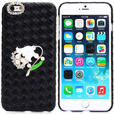 Buy Fashionable Plastic and Artificial Leather Material Back Cover Case with Flower Pattern and Diamond Design for iPhone 6 Plus 5.5 inches BLACK for $5.62 in GearBest store