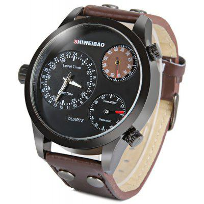 Shiweibao A3009 Three Movt Male Watch Japan Quartz Movement Leather Strap Round Dial
