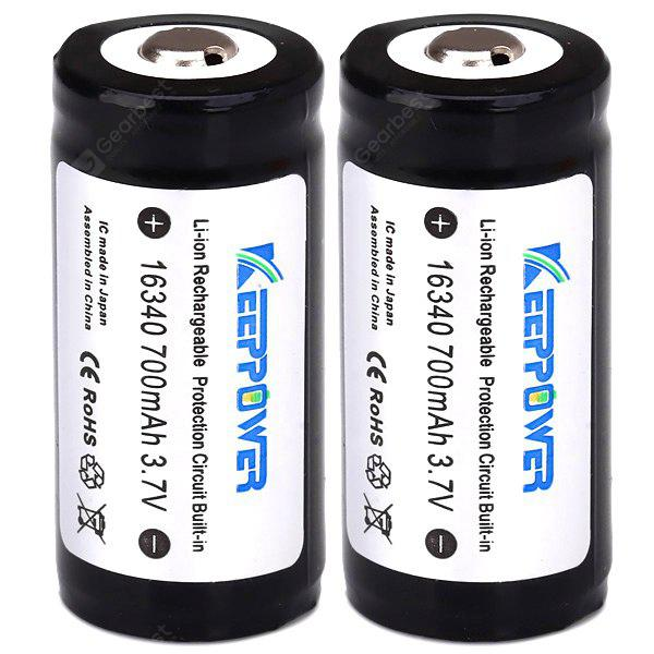 KeepPower Protected 700mAh 16340 Lithium Rechargeable Battery  -  3.7V 2 Pcs