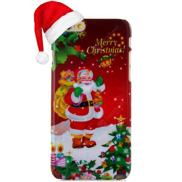 Fashionable PC Material Santa Claus Pattern Back Cover Case iPhone 6 - 4.7 inches DARK RED