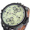 Shiweibao A1165 Four Quartz Movt Male Watch Leather Strap Big Round Dial Day for Sports - YELLOW DIAL WITH BLACK WATCHBAND