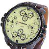 Shiweibao A1165 Four Quartz Movt Male Watch Leather Strap Big Round Dial Day for Sports - YELLOW DIAL WITH BROWN WATCHBAND