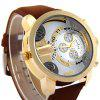 Shiweibao A3132 Men Dual Quartz Watch with Leather Band Big Dial - BROWN