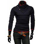 Buy RED Stylish Stand Collar Slimming Color Splicing Buttons Design Long Sleeve Polyester Sweatshirt For Men for $14.82 in GearBest store