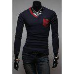 Buy Stylish V-Neck Slimming Color Splicing Pocket Design Long Sleeve Cotton Blend T-Shirt Men L DEEP BLUE