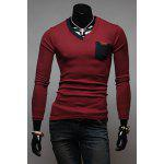 Buy Stylish V-Neck Slimming Color Splicing Pocket Design Long Sleeve Cotton Blend T-Shirt Men 2XL WINE RED
