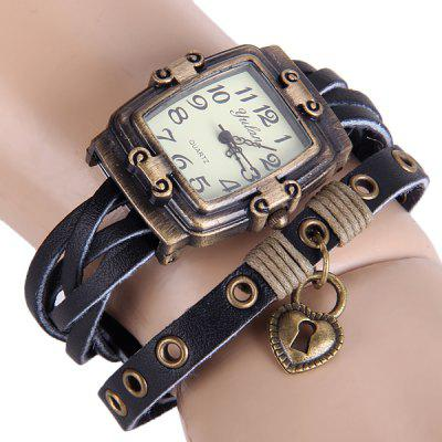 Yulan Retro Ladies Quartz Watch Leather Strap Rectangle Dial