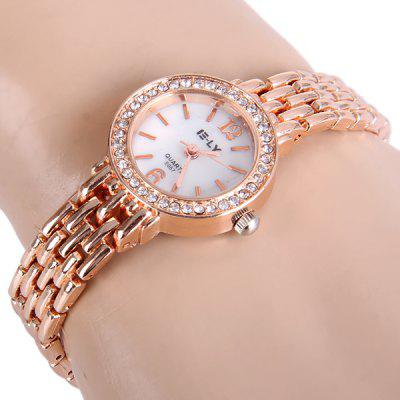 IE - LY E057 Quartz Chain Watch Diamond Round Dial Steel Strap for Ladies