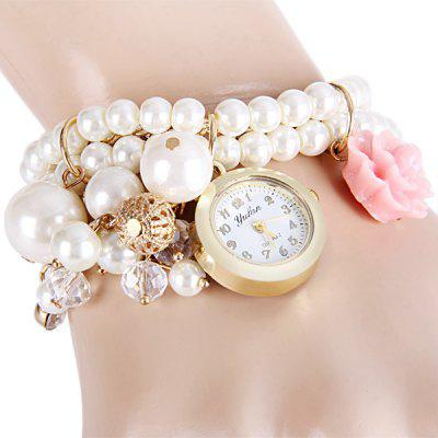 Yulan Female Quartz Chain Watch Flower Beads Round Dial Steel + Plastic Watchband