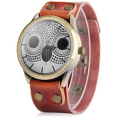Ladies Night Owl Quartz Watch Leather Strap Round Dial