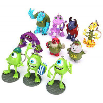 10Pcs Monster Inc Figures Key Rings Cute 3D Anime Figure Models