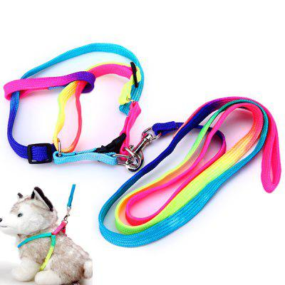 Practical 113cm Dog Cats Traction Leash Kit Colorful Adjustable Pets Harness