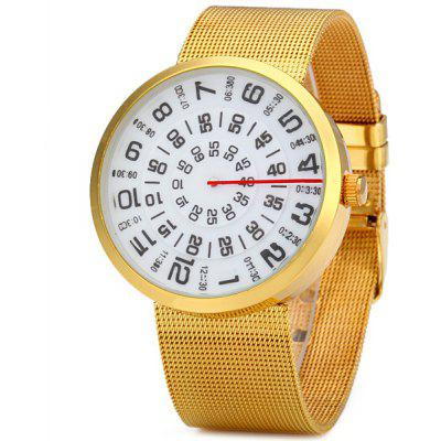 Paidu 58881 Male Quartz Watch Steel Net Strap Rotation Round Dial