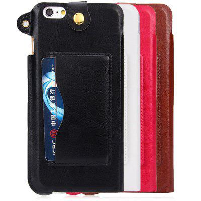 PU Leather Material Lanyard Back Cover Case with Card Holder and Stand for iPhone 6 Plus  -  5.5 inches