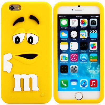 Buy YELLOW Fashionable 3D Cartoon M Chocolate Bean Silicone Back Cover Case for iPhone 6 Plus 5.5 inches for $2.43 in GearBest store