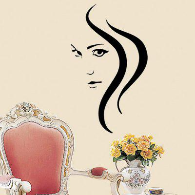 Removable Sexy Hair Spa Female Face Sticker Art Decor Mural Design for Indroom Decoration