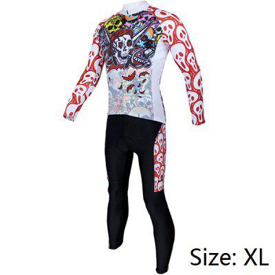Colorful Skeleton Pattern Men Cycling Suit Long Sleeve Jersey Pants Set Bike Bicycle Racing Clothes