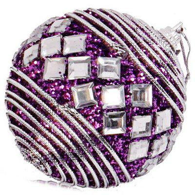Purple 8cm Rhinestone Christmas Ball Foam Pendant for Christmas Tree