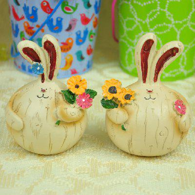 Set of 2 Lovely Village Style Fat Resin Couple Rabbit Pick - flowers for Garden Home Yard Ornaments Gift Decorative Craft